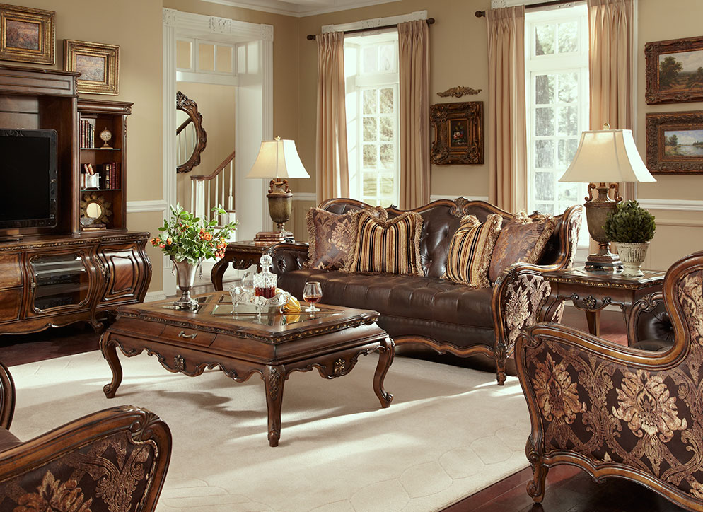 Melange Traditional Leather Fabric Wood Trim Tufted Sofa Set By AICO