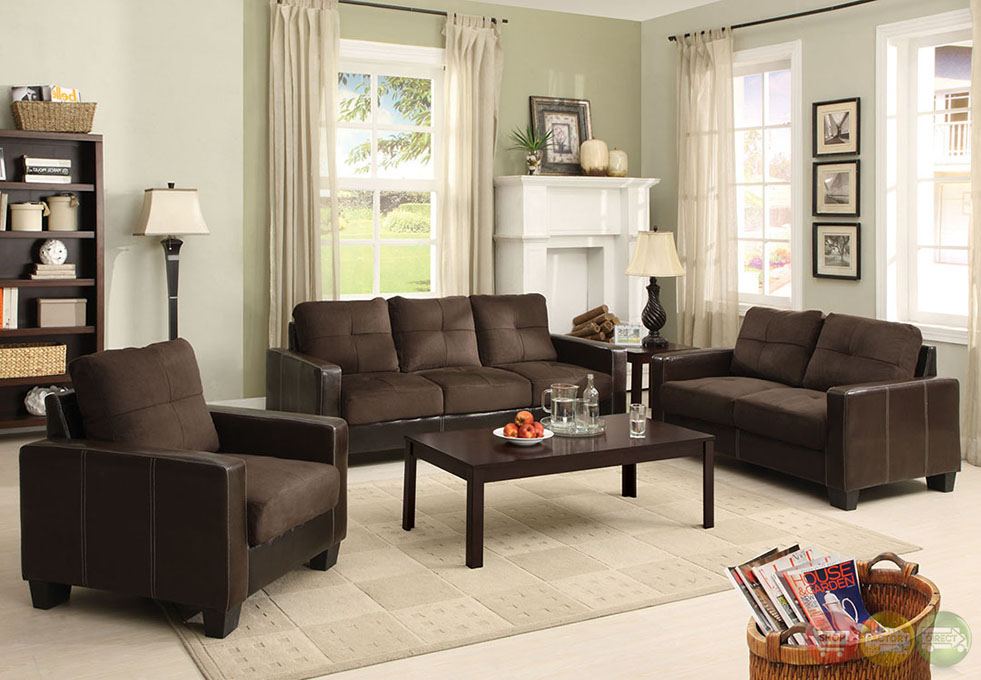 Brown and espresso living room set with elephant skin microfiber