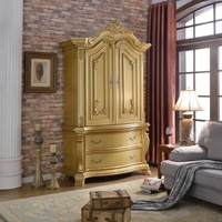 Lavish Traditional French Gold 2-Drawer Armoire