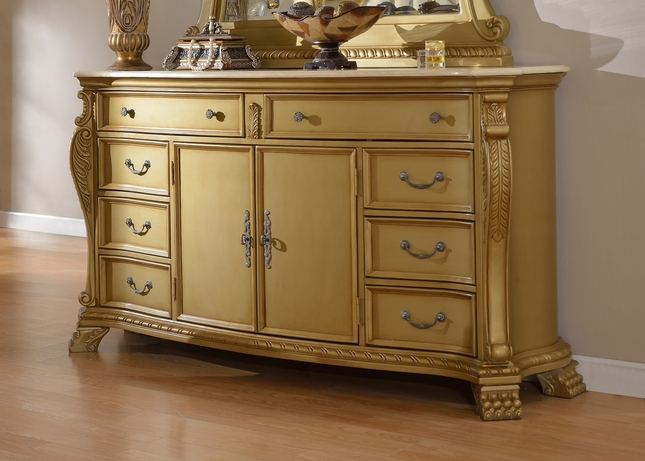 Lavish Traditional French Gold 8-Drawer Double Dresser