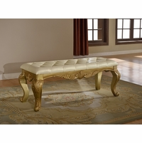 Lavish Traditional French Gold Upholstered Bedside Bench