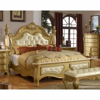 Lavish Traditional Gold Low Post King Bed With Marble And Crystal