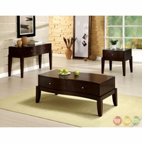 Le Mans Contemporary Espresso Accent Tables Set with 2-way Drawers CM4035