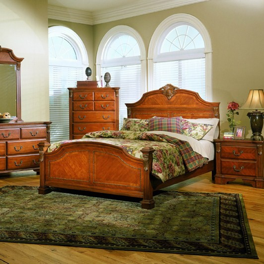 Legacy Traditional King Size Panel Bed Cognac Finish