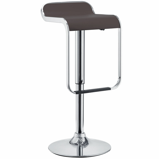 Lem Modern Backless Vinyl Bar Stool With Foot Rest And Chrome Finish, Brown