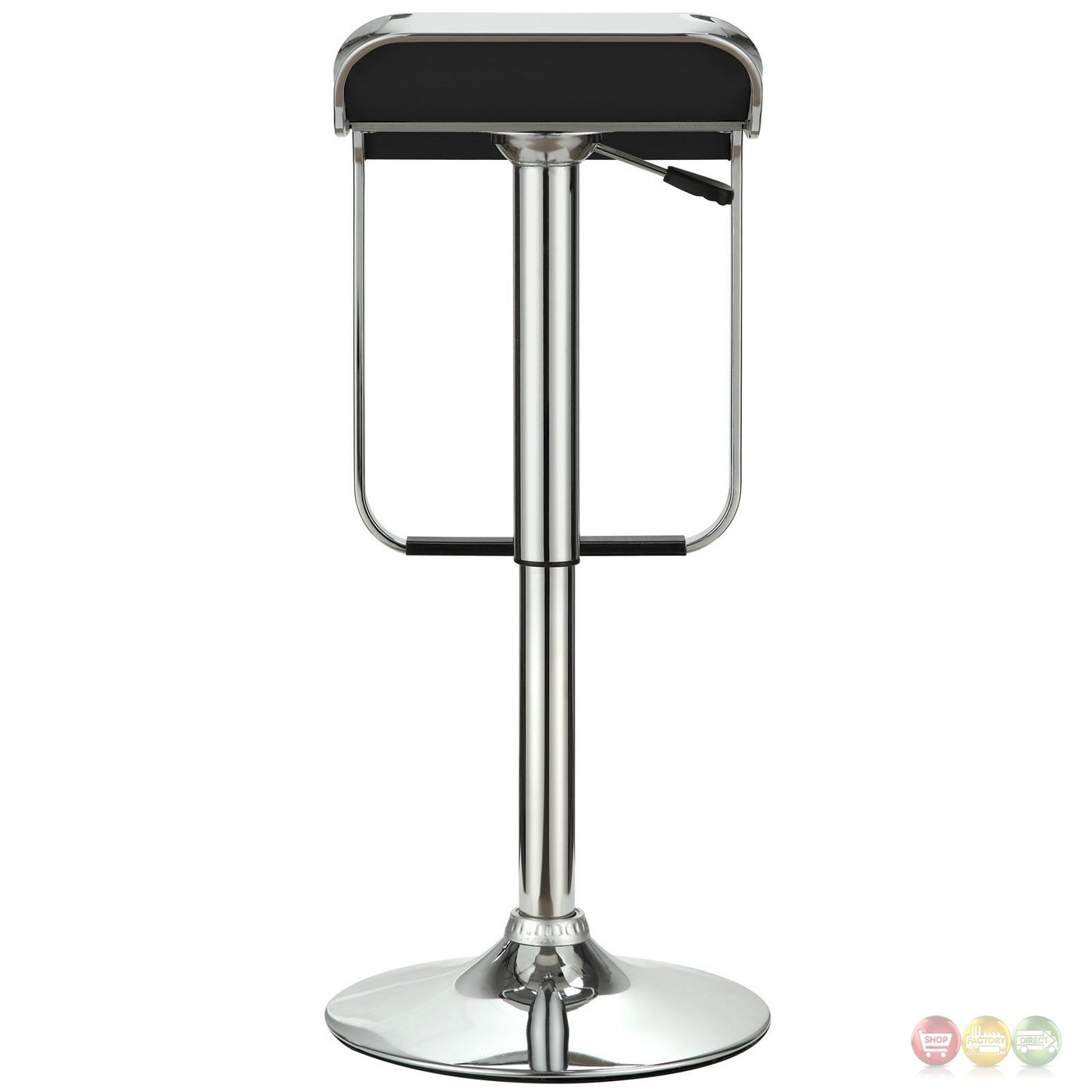 Lem Modern Backless Vinyl Bar Stool With Foot Rest And