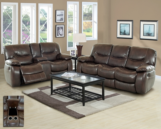 Harvey Casual Motion Brown Bonded Leather Living Room Set w/ Cup Holders