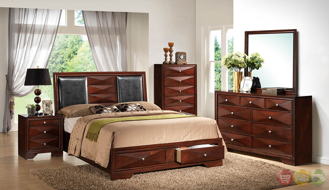 leona contemporary cherry platform bedroom set with full extension