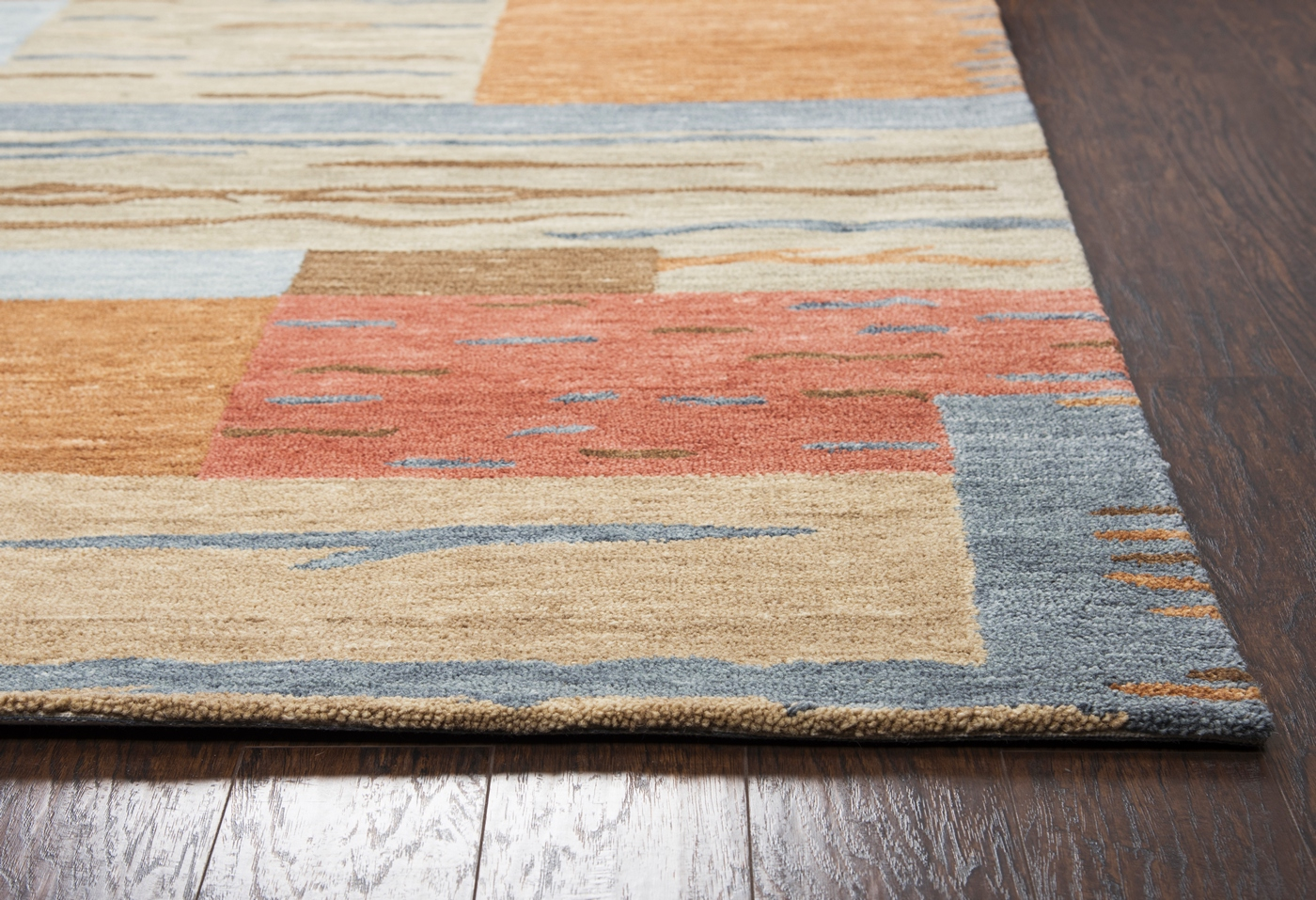 Leone Abstract Block Wool Area Rug In Gray Brown Red Blue