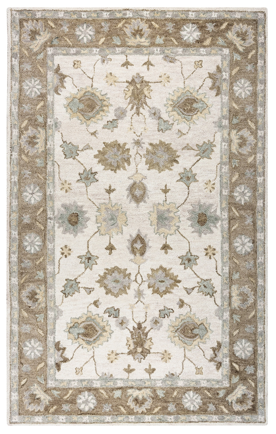 Leone Bordered Vines Wool Area Rug In Natural Amp Brown 8