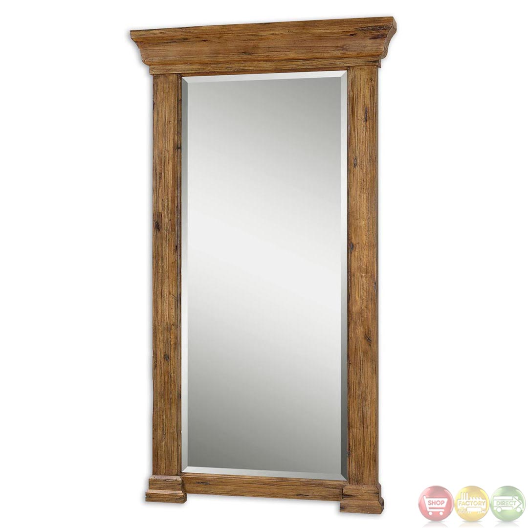 letcher rustic antiqued hickory large wood mirror 09501