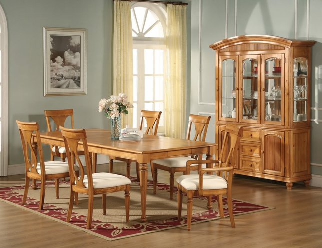 Lexington Formal Dining Room Light Oak Finish Table Chairs