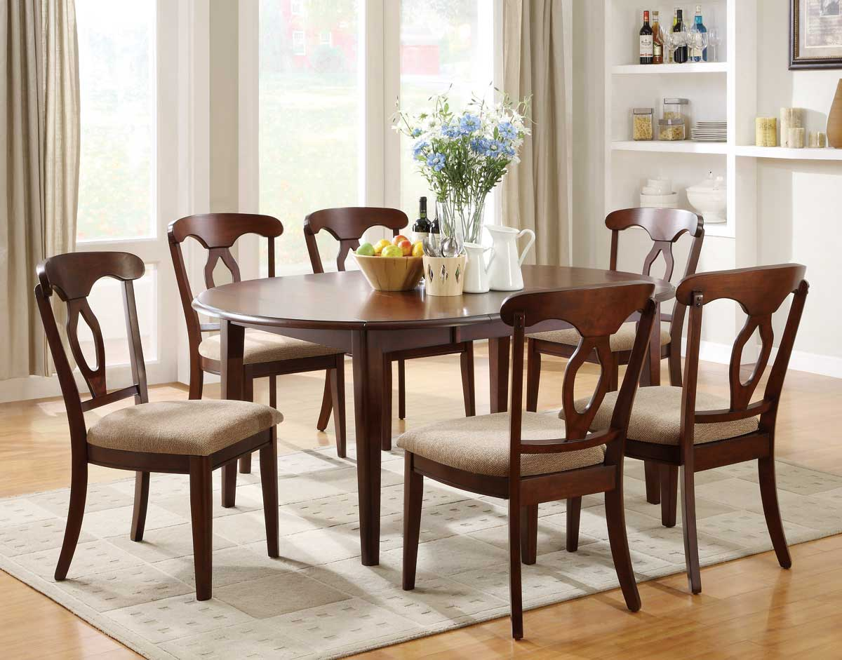 Liam Oval Top Formal Dining Room Set Cherry Finish Coaster
