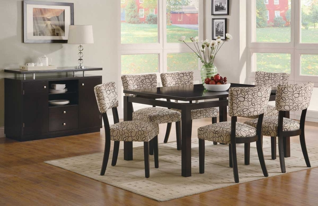 Libby Contemporary Dining Room Set Dark Finish w/ Fabric Upholstered Chairs