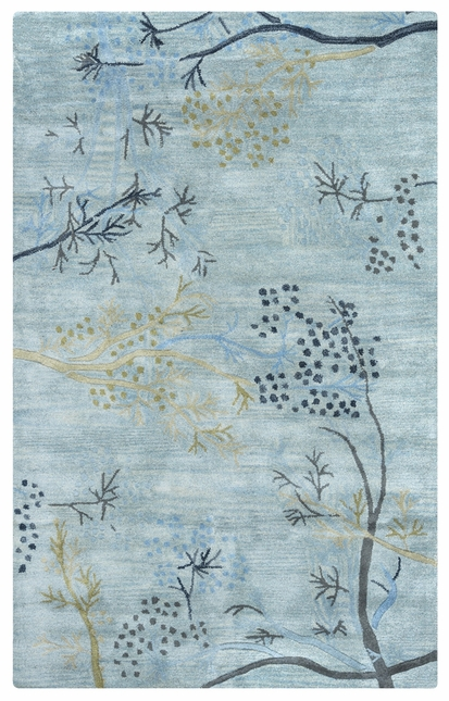 Rizzy Rugs Light Blue Floral Hand Tufted Area Rug Craft CF0815