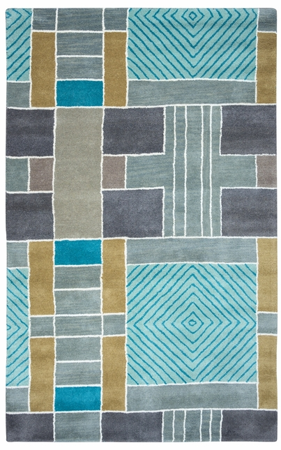 Rizzy Rugs Light Blue Geometric Hand Tufted Area Rug Volare VO2654