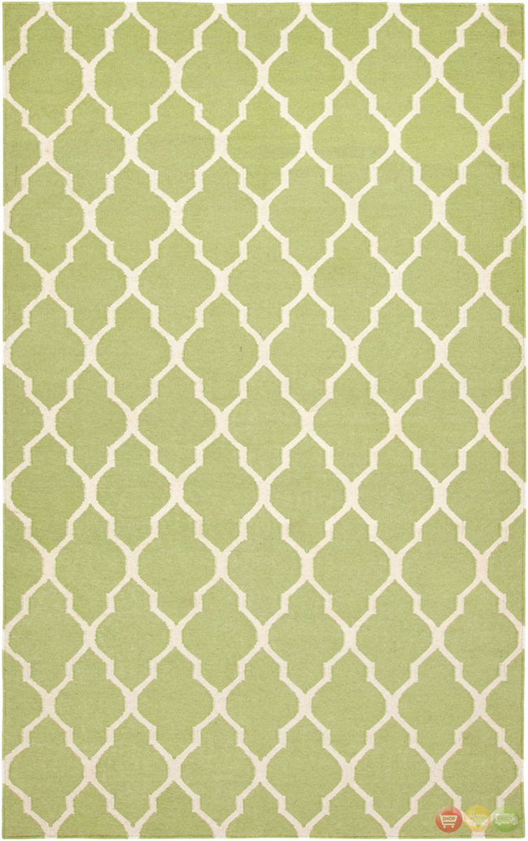 Rizzy Rugs Light Green Lattice Hand Woven Dhurrie Area Rug