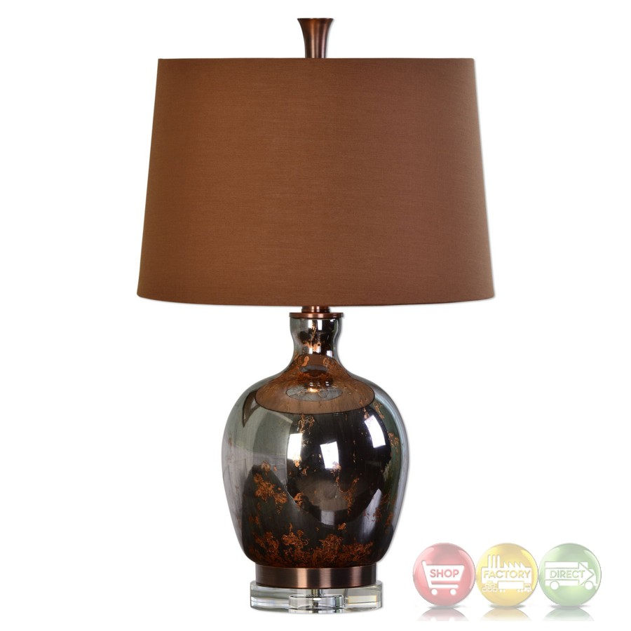 Lilas Metallic Rust Bronze Mercury Glass Table Lamp Wutg ...