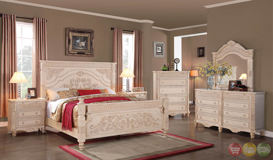 Lilly Antique Traditional Distressed Antique White Panel Bedroom Set With Ful