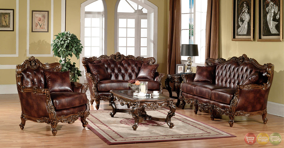 Lilly traditional dark wood formal living room sets with carved