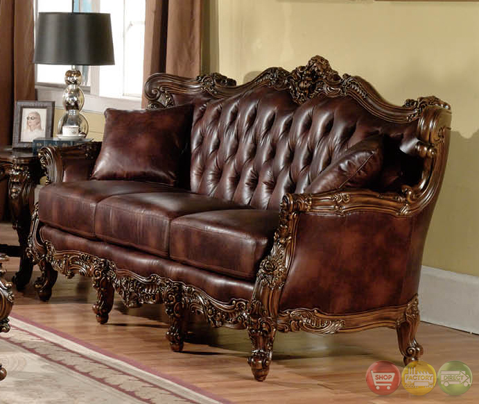 Traditional Living Room Furniture Sets: Lilly Traditional Dark Wood Formal Living Room Sets With