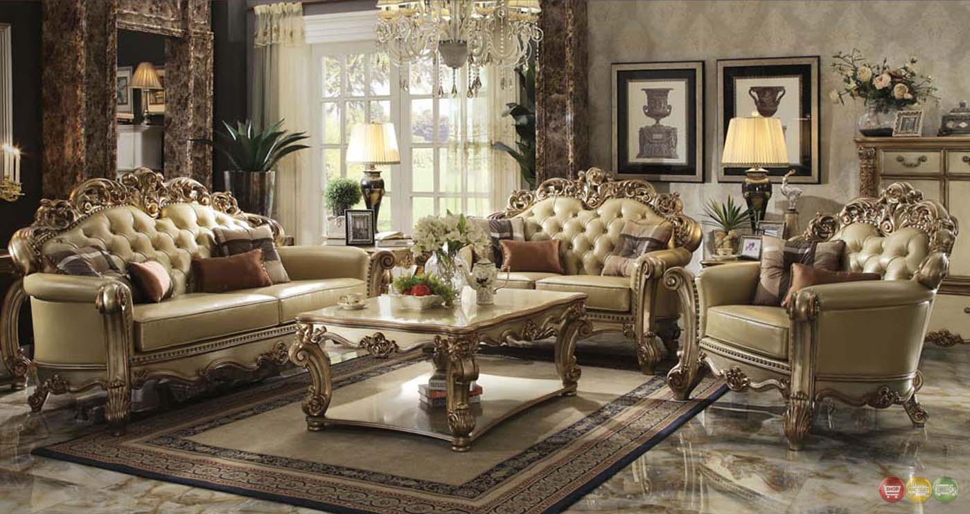 Vendome Traditional Gold Patina Formal Living Room Set w/ Carved ...