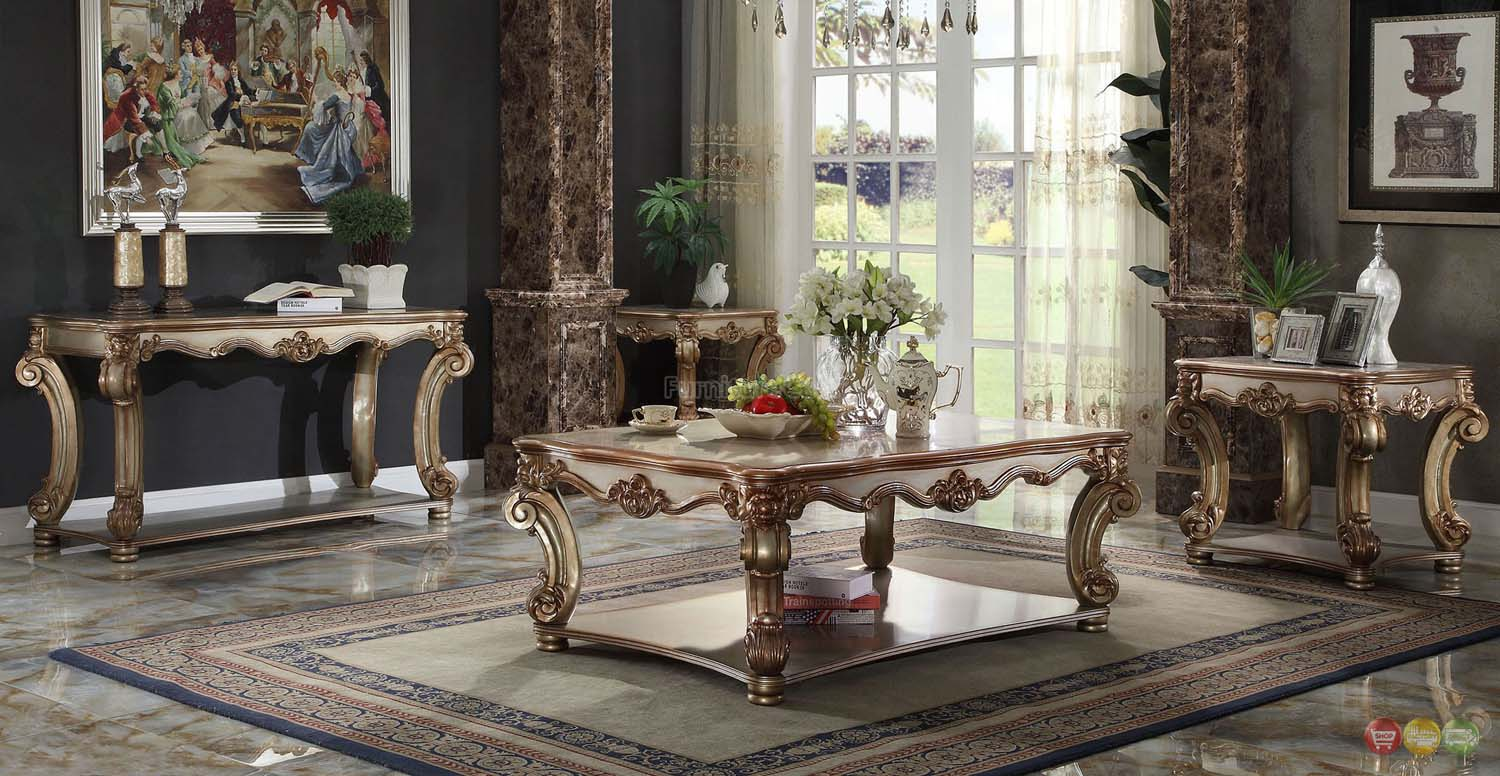 Vendome Traditional Gold Patina Formal Living Room Sets W Carved