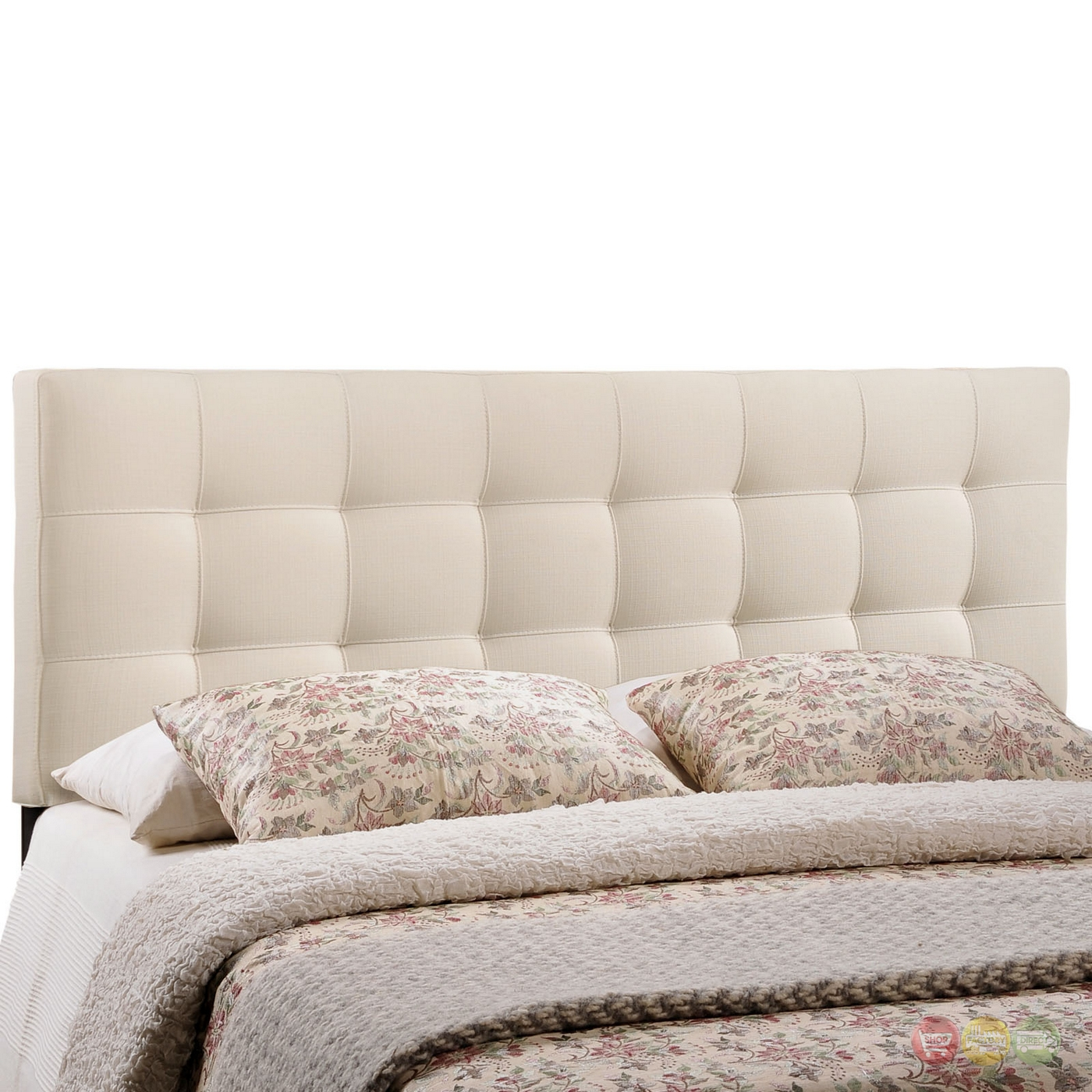 Lily Contemporary Fabric Button Tufted Full Headboard Ivory
