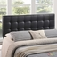 Lily Contemporary Vinyl Button-tufted King Headboard, Black
