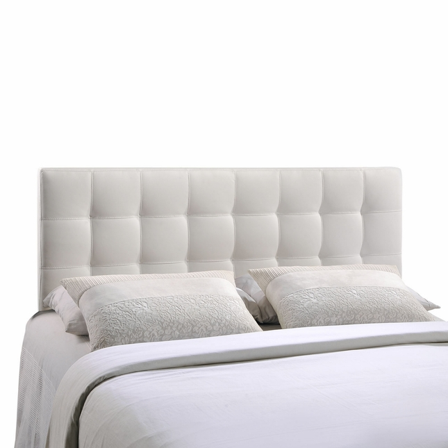 Lily Contemporary Vinyl Button-tufted King Headboard, White