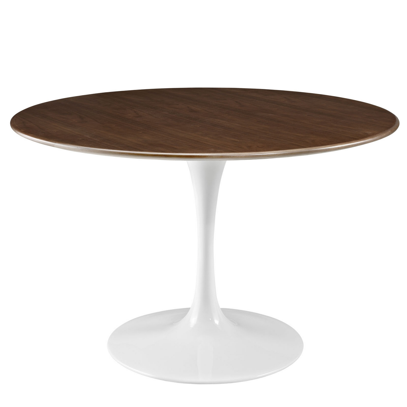 Lippa 47 Round Walnut Top Dining Table With Lacquered Finished Base Wa
