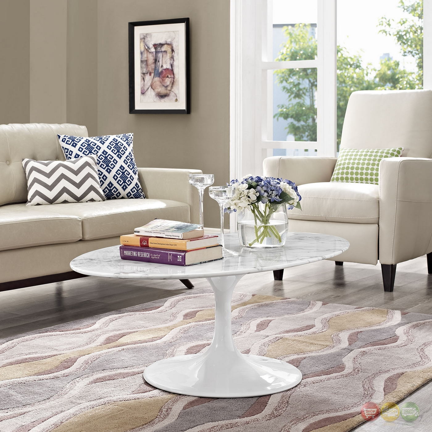 "Faux White Marble Coffee Table Set: Lippa 48"" Oval-shaped Faux Marble Coffee Table W/metal"