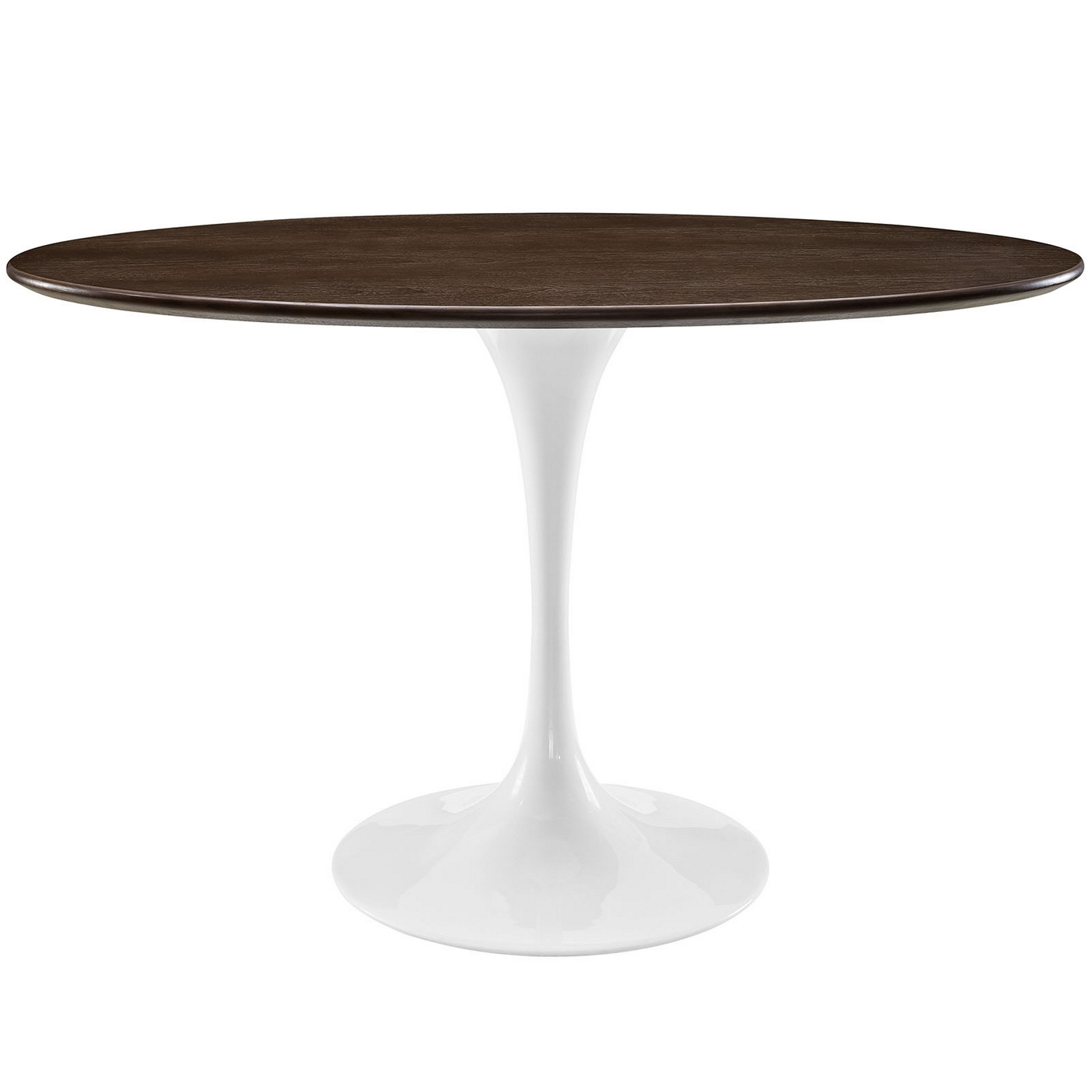 48 Oval Shaped Walnut Dining Table W Metal Lacquered Base Walnut