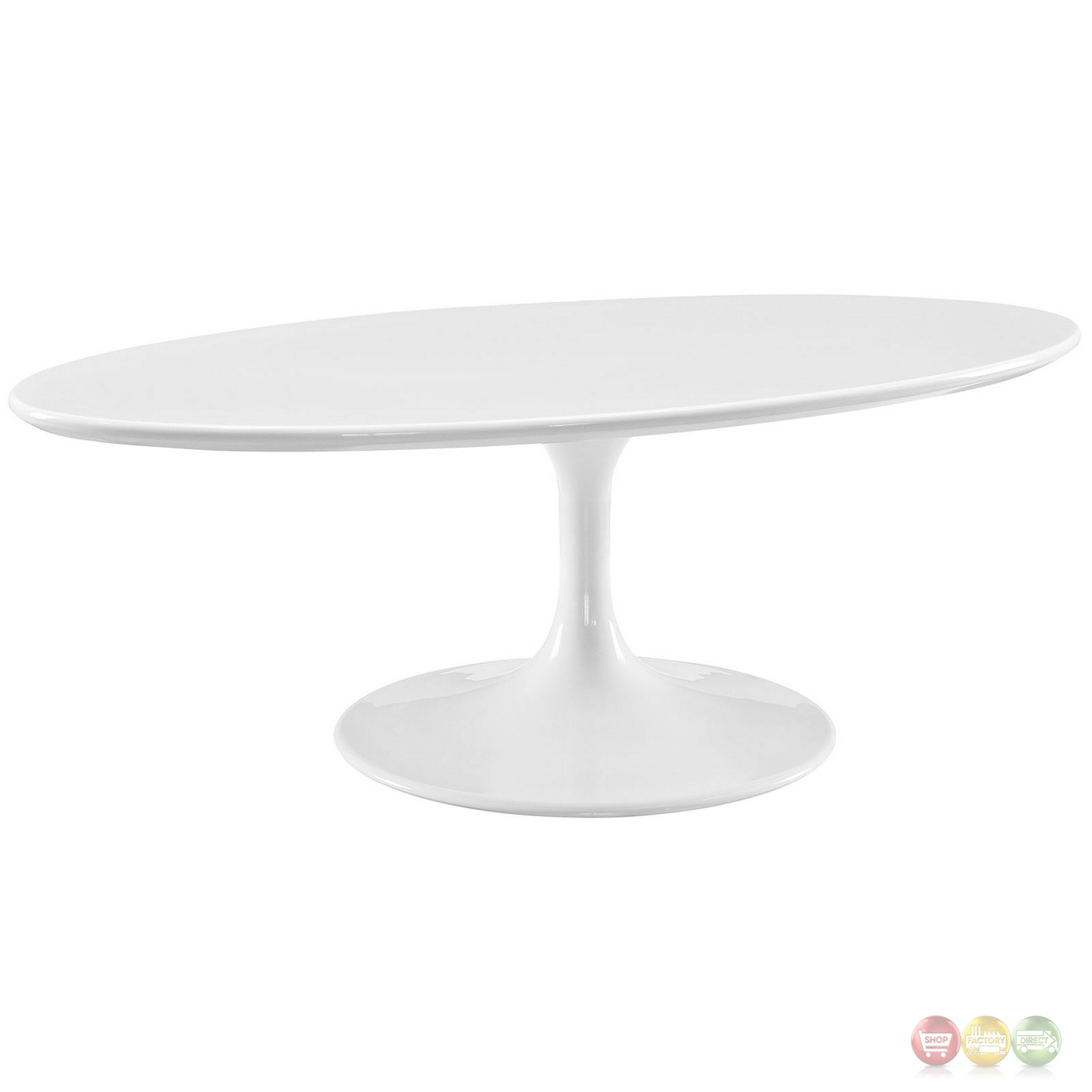 """White Coffee Table Oval: Lippa 48"""" Oval-shaped Wood Coffee Table W/metal Lacquered"""