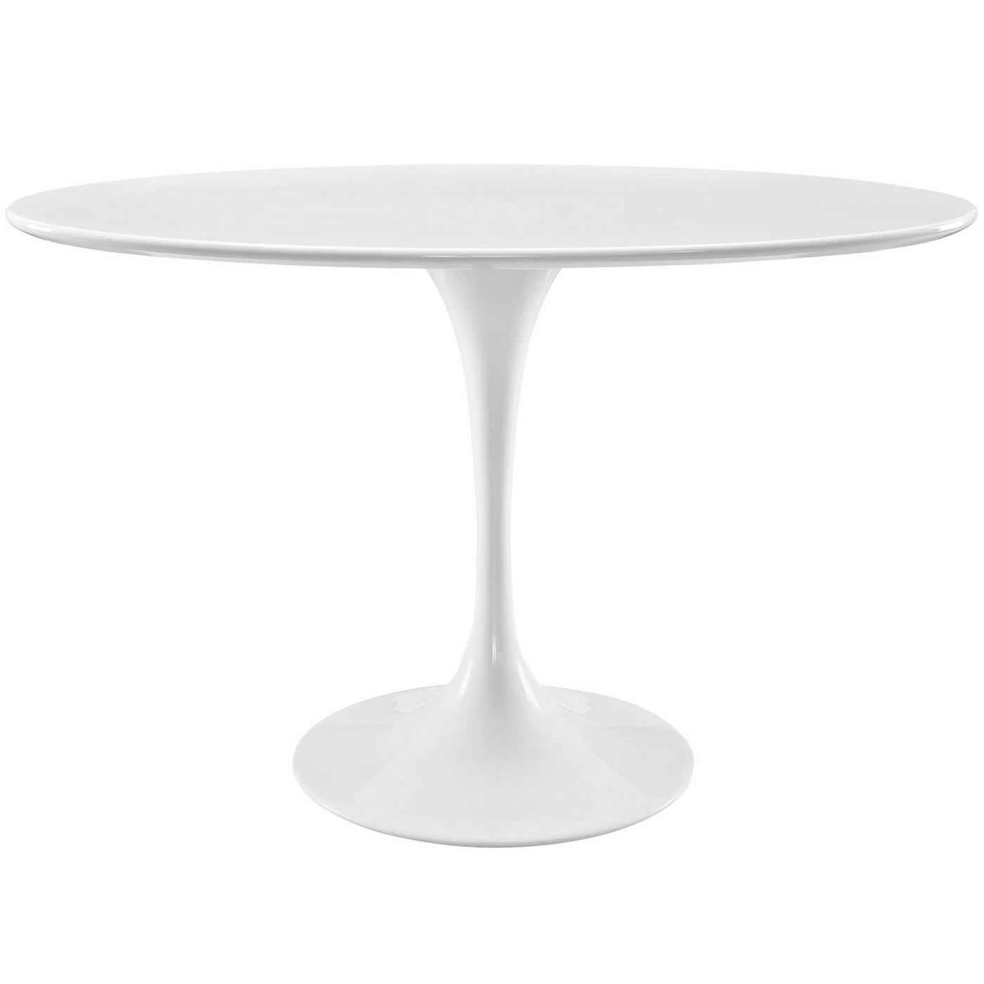 Lippa 48 Oval Shaped Wood Dining Table W Metal Lacquered Base White