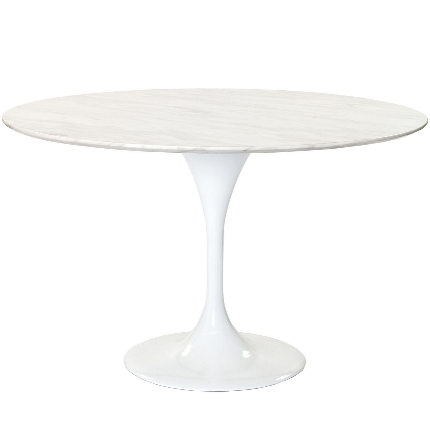 lippa 48 round marble top dining table with lacquered pedestal white