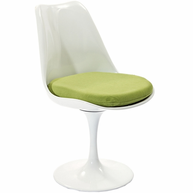 Dining side chair with upholstered cushion amp lacquered finish green