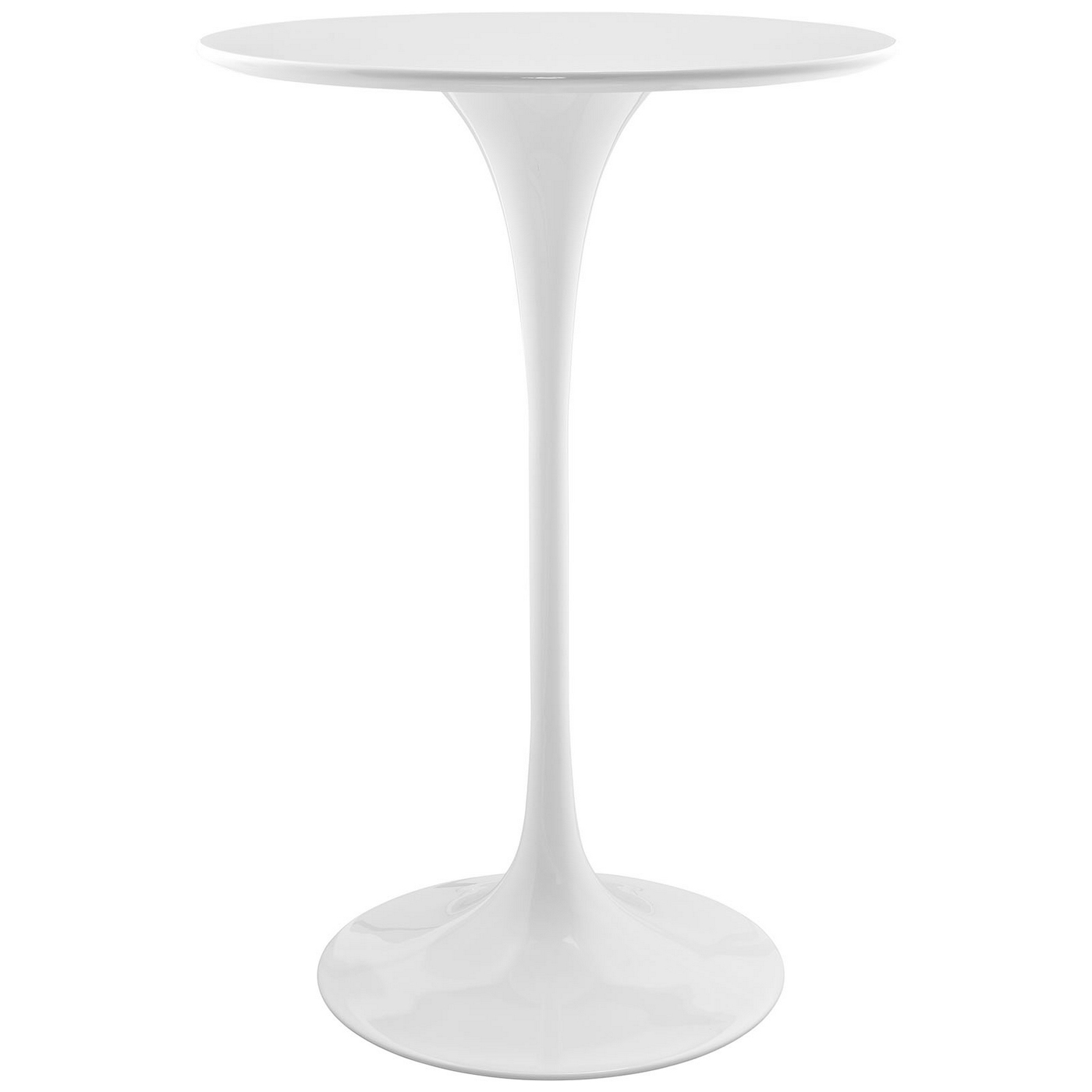 """Lippa Modern 28"""" Round Wood Bar Table With Lacquered Metal"""