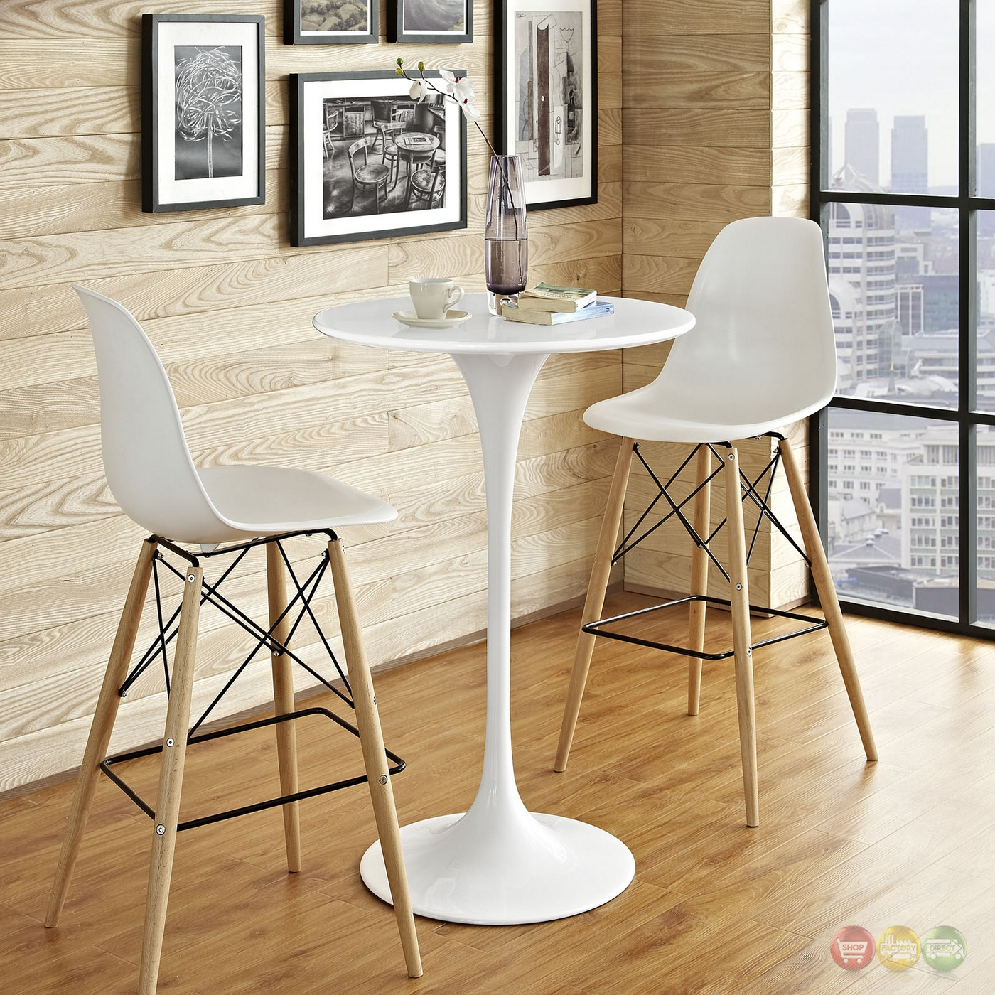 "Bar Table Wood: Lippa Modern 28"" Round Wood Bar Table With Lacquered Metal"