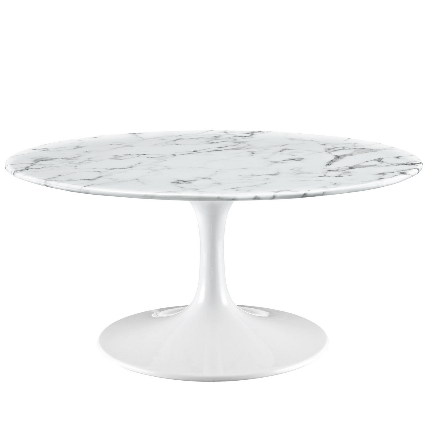 "Faux White Marble Coffee Table Set: Lippa Modern 36"" Round Faux Marble Coffee Table With"