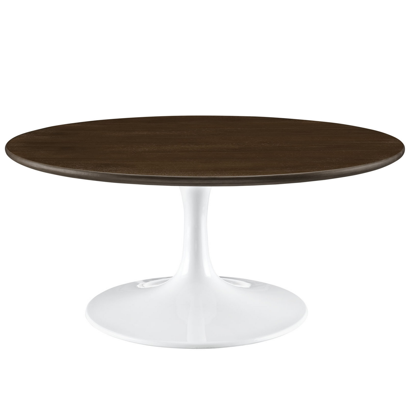 "Lippa Modern 36"" Round Walnut Coffee Table With Lacquered"