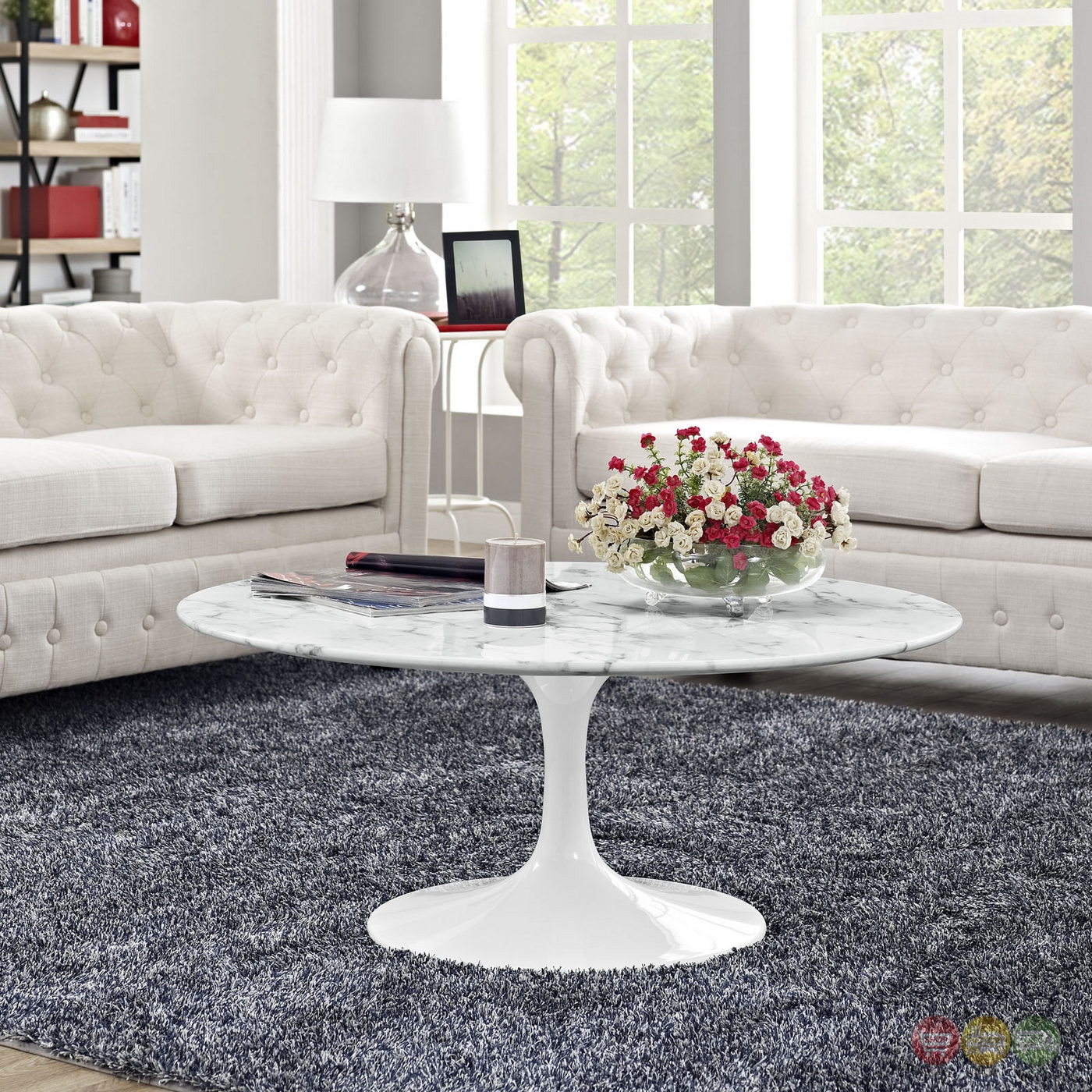 "Faux White Marble Coffee Table Set: Lippa Modern 40"" Faux Marble Coffee Table With Lacquered"