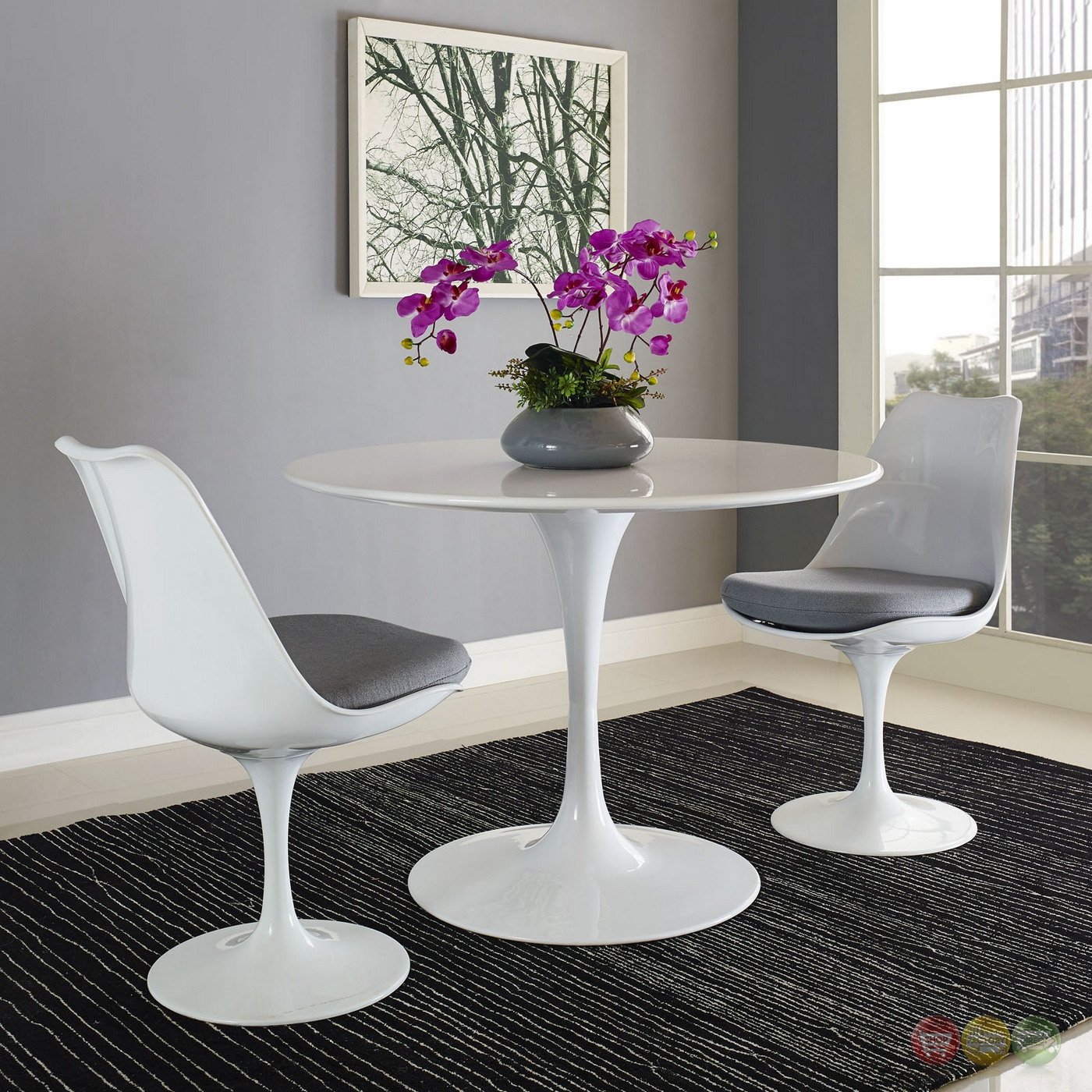 """Table Ronde Bois Blanc: Lippa Modern 40"""" Round Wood Top Dining Table W/lacquered"""