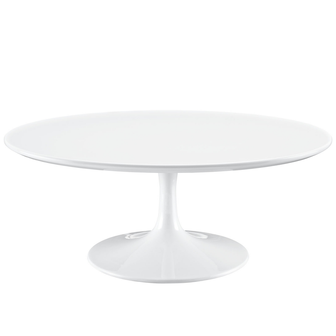 Lippa modern 40quot round pedestal coffee table with for Modern white coffee table
