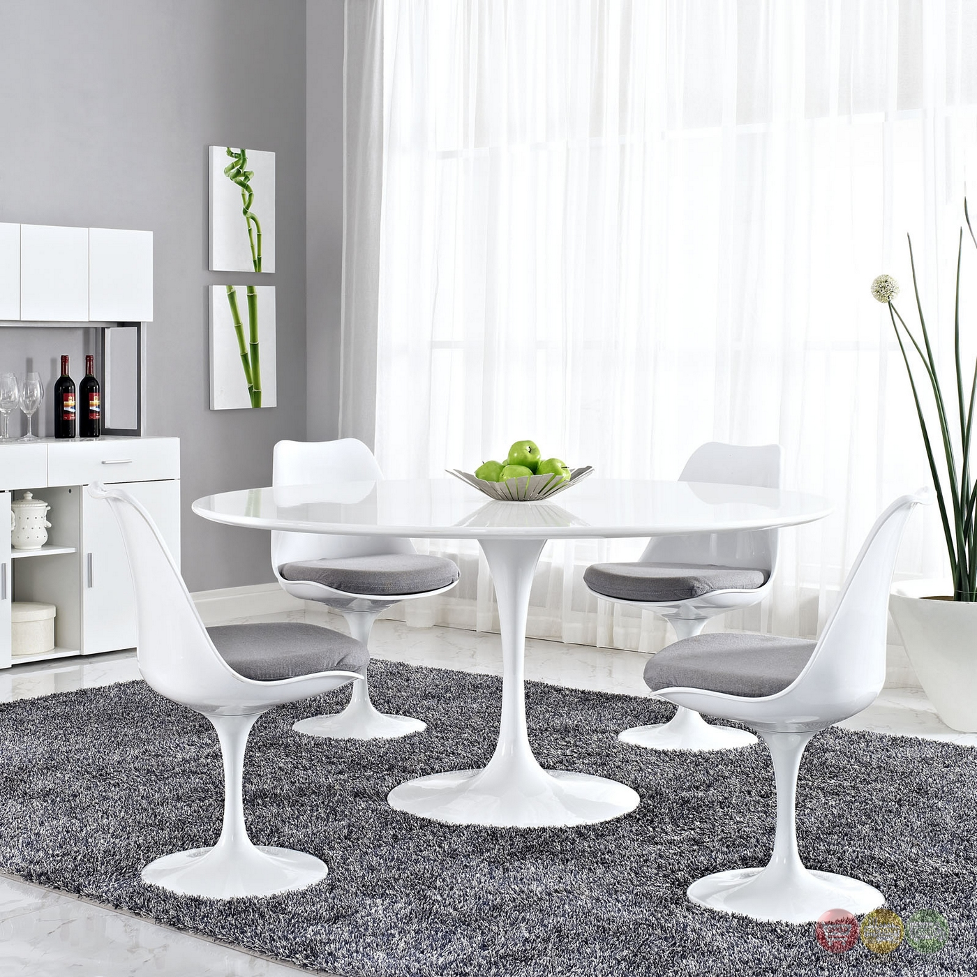 "Lippa Modern 60"" Round Wood Top Dining Table W/lacquered ..."
