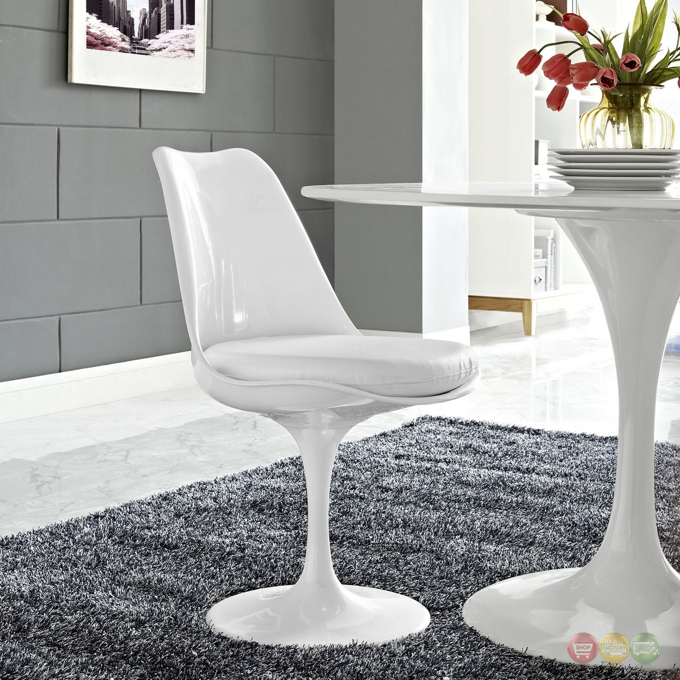 Lippa Modern Upholstered Vinyl Dining Side Chair With