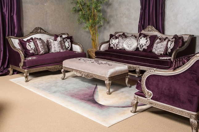 Lisette Antique Style Palace Sofa & Loveseat in Royal Purple & Silver