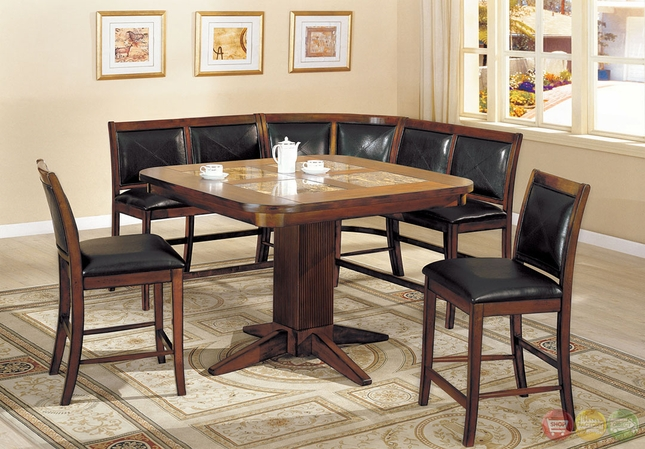 Living Stone II Counter Height Bench Seating Corner Dining Set