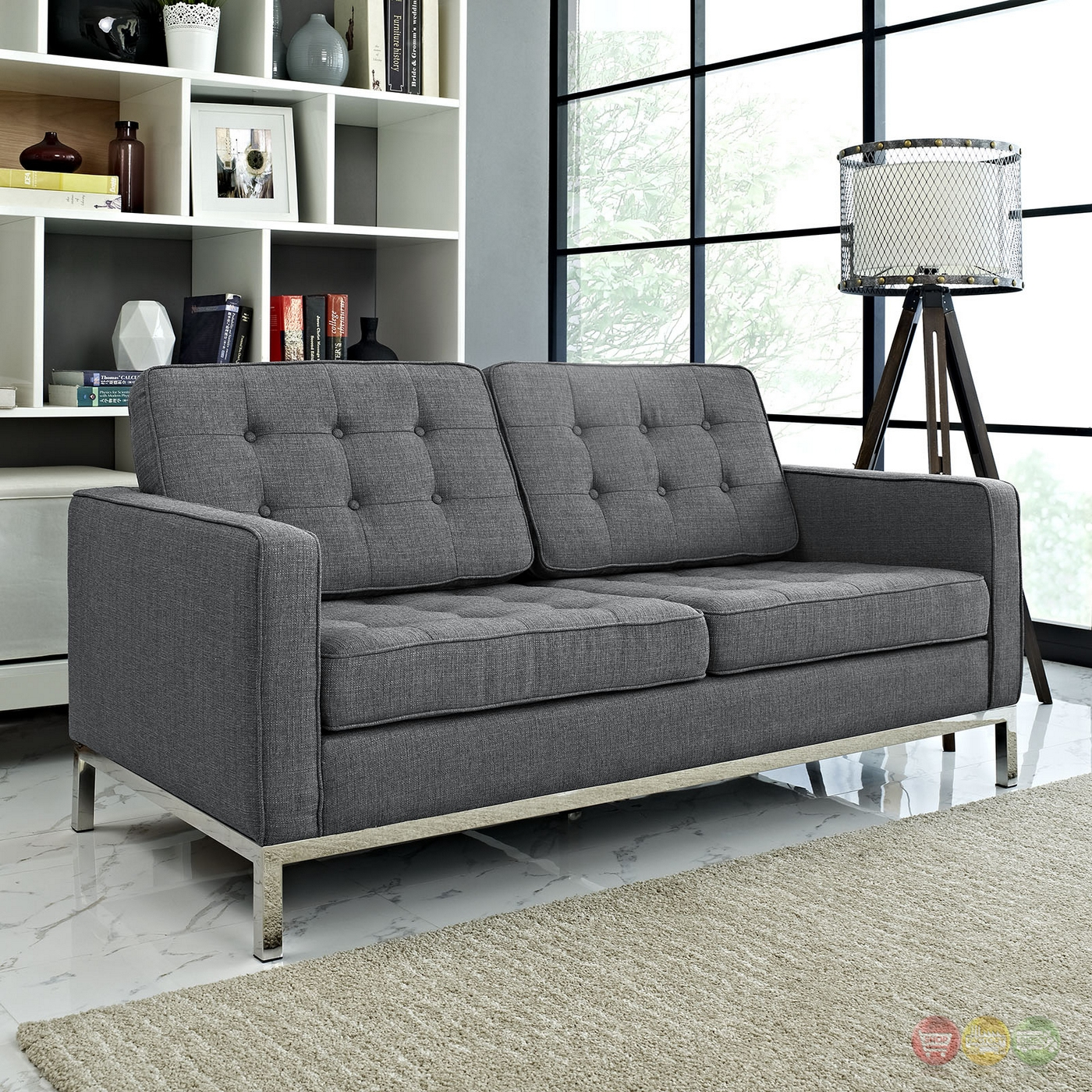 Loft Contemporary Button Tufted Upholstered Loveseat W