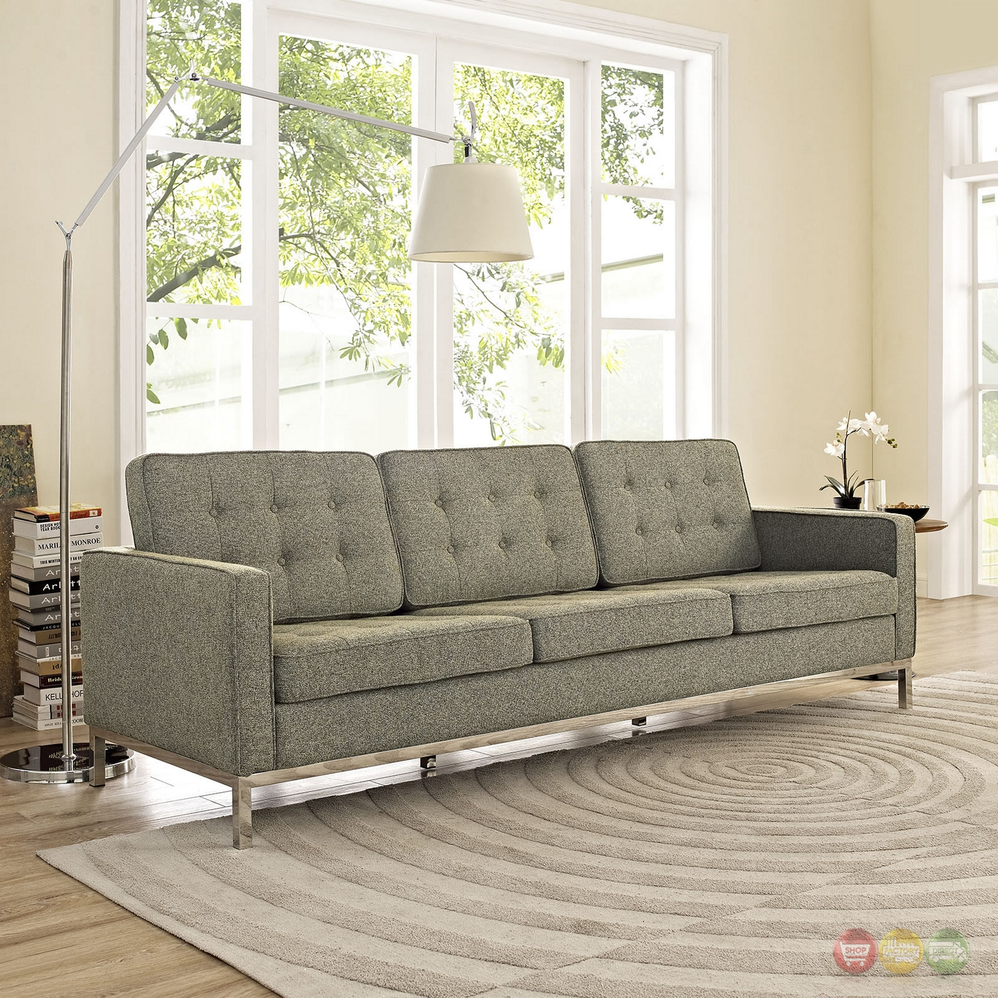 Loft Contemporary Button Tufted Upholstered Sofa W Chrome